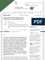 Fragments of TRNA Suggest a Novel Mechanism for Cancer Progression