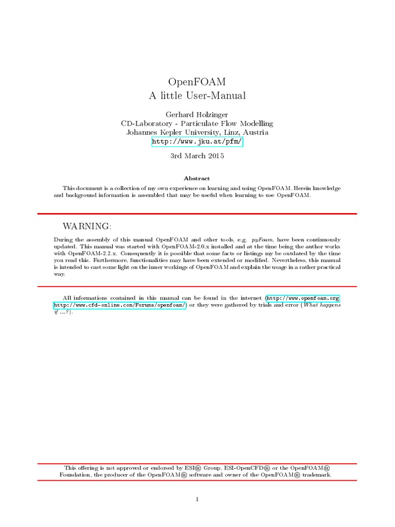 A simple manual for OpenFoam   Computing   Technology