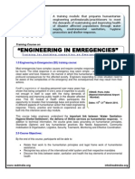 Engineering in Emergencies - Course Announcement