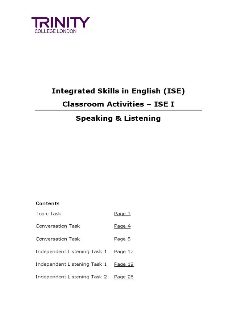 ISE I - Speaking & Listening Classroom Activities | English Language