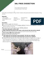External Frog Dissectionpatt 07-08