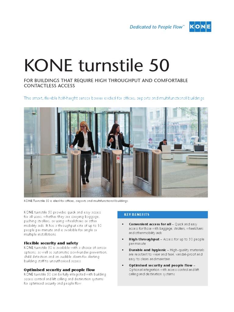 KONE-turnstile-50-factsheet pdf | Wheelchair | Technology
