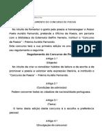 Regulamento Do Concurso de Poesia