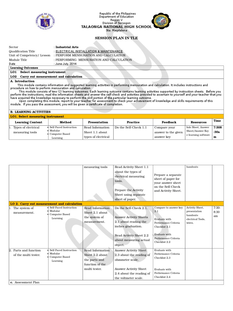 Electricity G7 G8 Uc 2 Session Plan Copy Fluorescent Lamp Reading An Electrical Lighting
