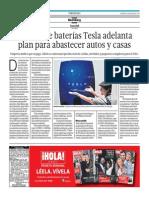 08-05-2015 - El Comercio - Portafolio - Fábrica de Baterías Tesla Adelanta Plan Para Absatecer Autos y Casas
