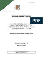 Doc.Nro5PROPUESTA METODOLÓGICA PARA LA MEDICIÓN DE LA SOCIEDAD DEL CONOCIMIENTO EN EL ÁMBITO DE LOS PAÍSES DE AMÉRICA LATINA
