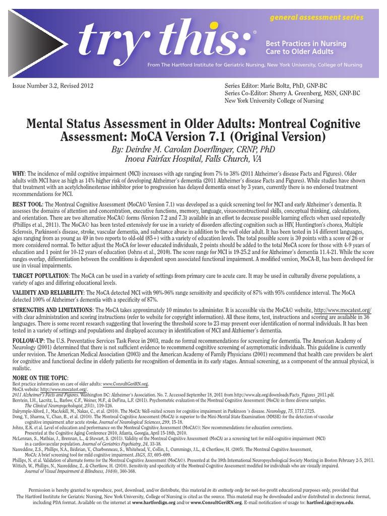 Mental Status Assessment.pdf | Dementia | Alzheimer's ...