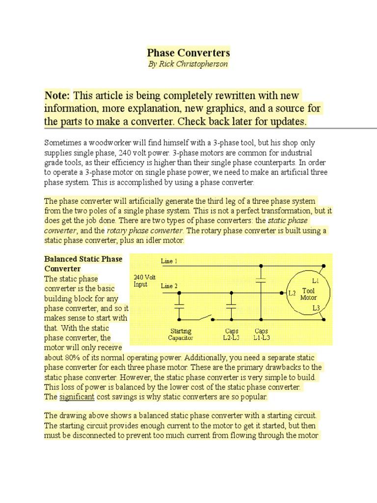 3 faze converter relay capacitor