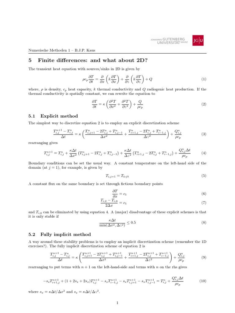 Finite Differerence Temp 2D | Hydrogeology | Mechanics