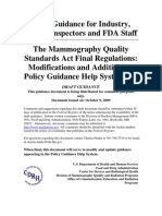 The Mammography Quality Standards Act Final Regulations- Modifications and Additions to Policy Guidance Help System #13