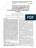 PERFORMANCE EVALUATION AND EMISSION CHARACTERISTICS OF A WASTE TRANSFORMER OIL AS AN ALTERNATIVE FUEL FOR DIESEL ENGINE