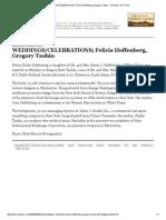 WEDDINGS_CELEBRATIONS; Felicia Hoffenberg, Gregory Taubin - The New York Times