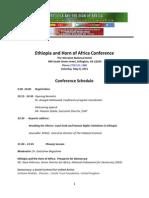 Ethiopia and Hornof Afrrica Confernece Schedule