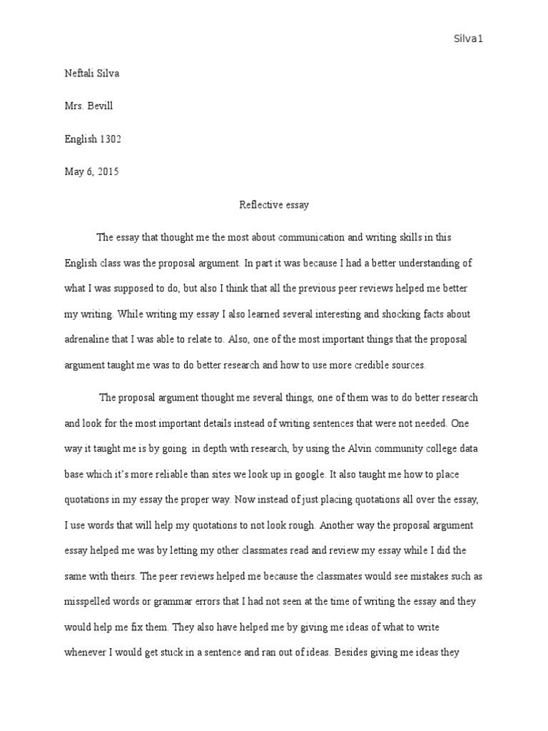 neftali silva reflective essay  essays  communication