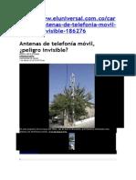 Antenas de Telefonía Móvil, ¿Peligro Invisible