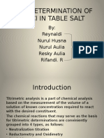 Determination of NaCl in Table Salt