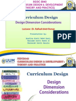 Design Dimension Consideration in Curriculum Design