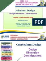 Design Dimension Consideration in Curriculum Design
