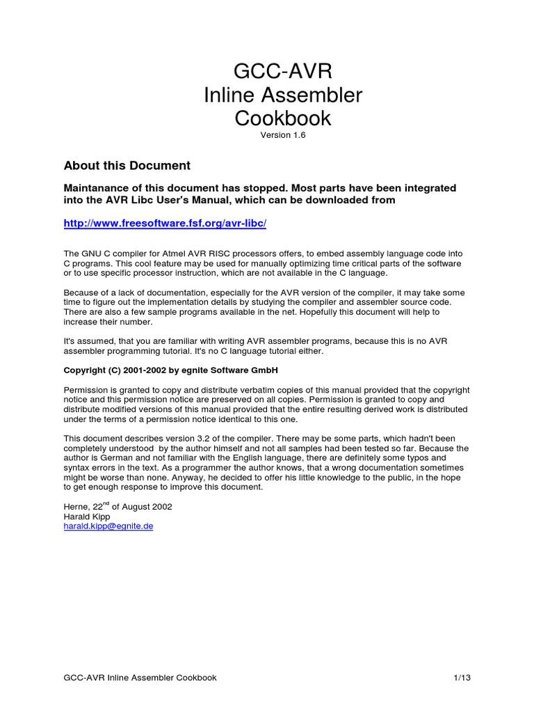 kipp h gcc avr inline assembler cookbook v1 6 bookfi org rh scribd com avr libc user manual pdf avr gcc user guide