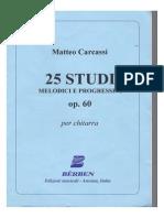 Matteo Carcassi Op. 60 25 Studi Melodici e Progressvi Chitarra Classica