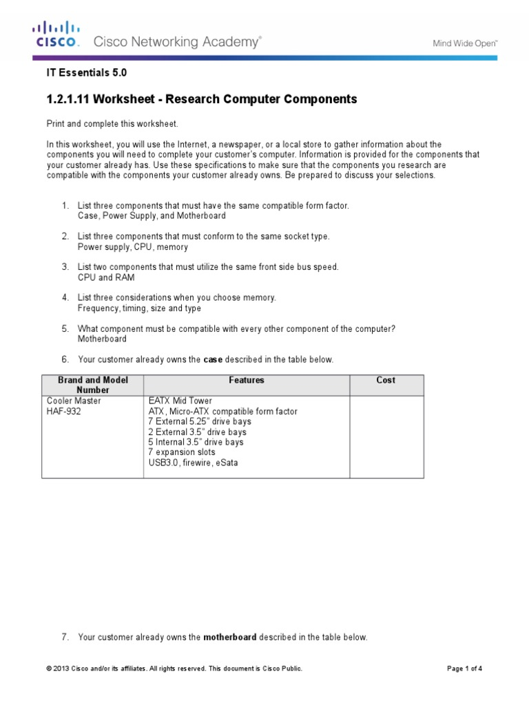 1 2 1 11 Worksheet Research puter ponents 1