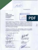 Carta Motivación Proyecto de Ley que declara la necesidad de la reforma constitucional 2015