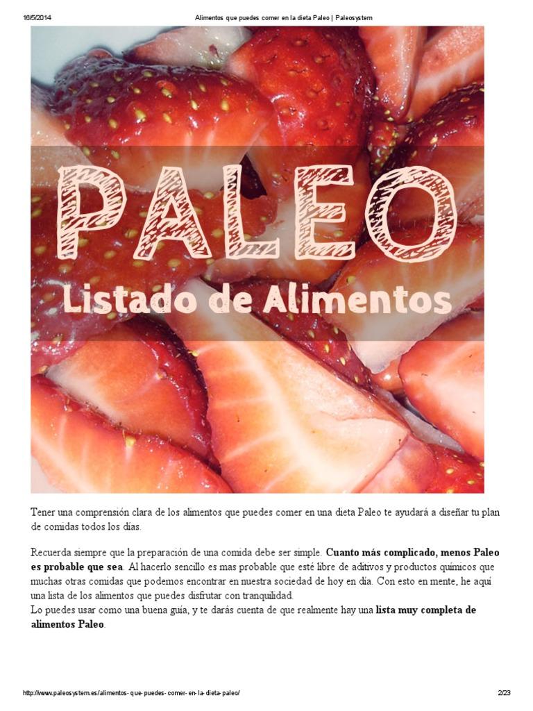 lista de compras de dieta paleolítica