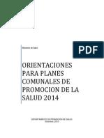 Orientaciones Para Planes Comunales Para La Promocion de La Salud 2014.