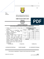 English exam for 2015 (Mid year 5)