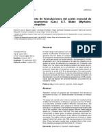 Actividad Repelente de Formulaciones Del Aceite Esencial de Melaleuca Quinquenervia(Cav.) S.T. Blake (Myrtales. Myrtaceae) en Mosquitos