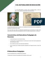 Resumen de Rousseau o el naturalismo de la educación