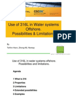 Use Of 316 in Offshore Water Systems