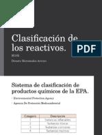 Clasificación de Los Reactivos