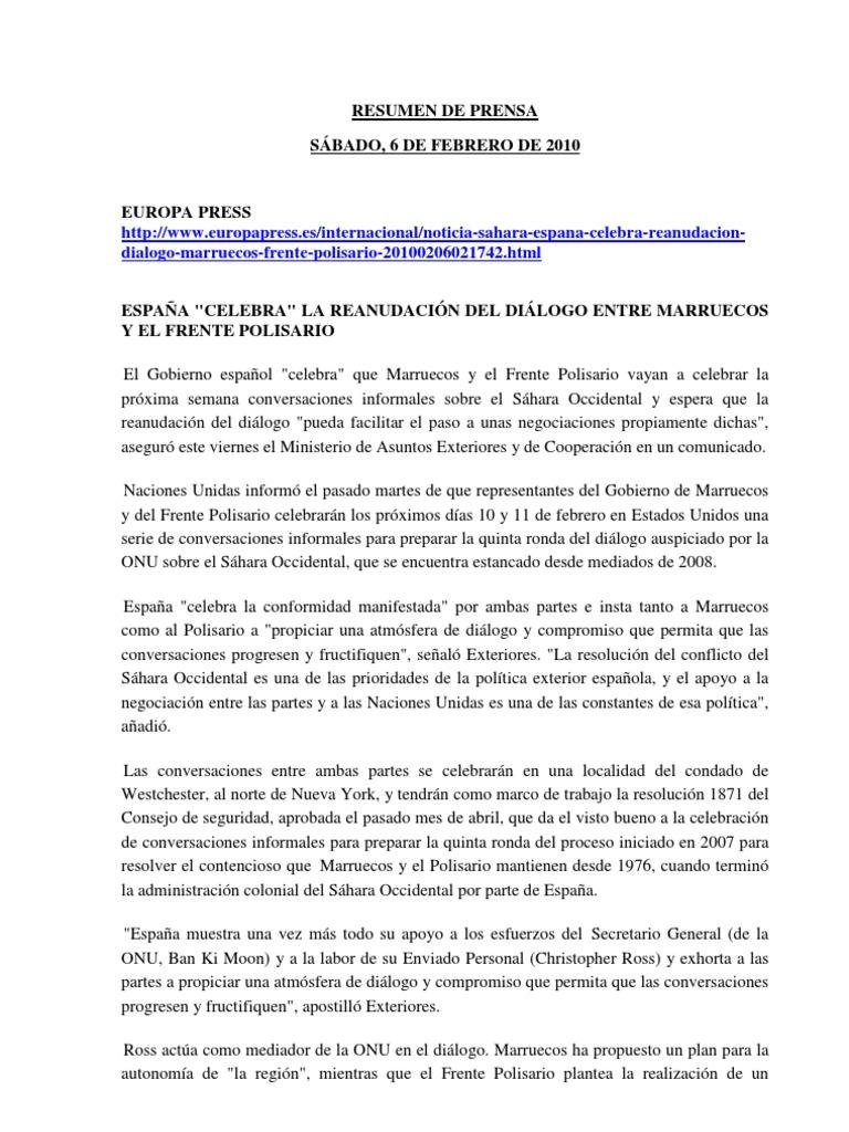 20100206.Sahara Occidental.resumen de Prensa