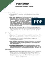 Blast Door - Frame Specifications