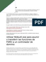 Asumir o Transferir Roles FSMO a Un Controlador de Dominio NTDSUTIL