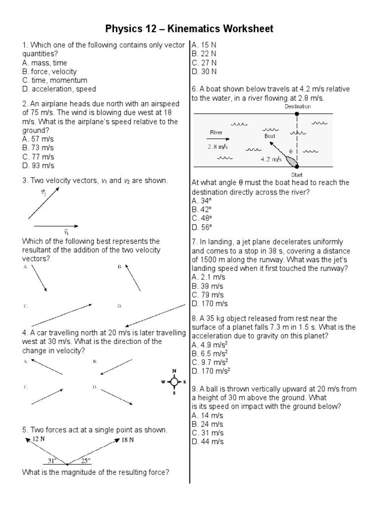 Worksheets Kinematics Worksheet kinematics worksheet acceleration velocity