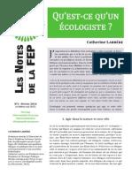 Qu'est-ce qu'un écologiste?