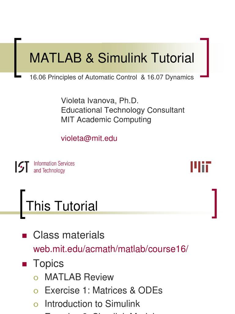 Slides 16 06 16 07 Matlab Simulink | Matlab | Ordinary