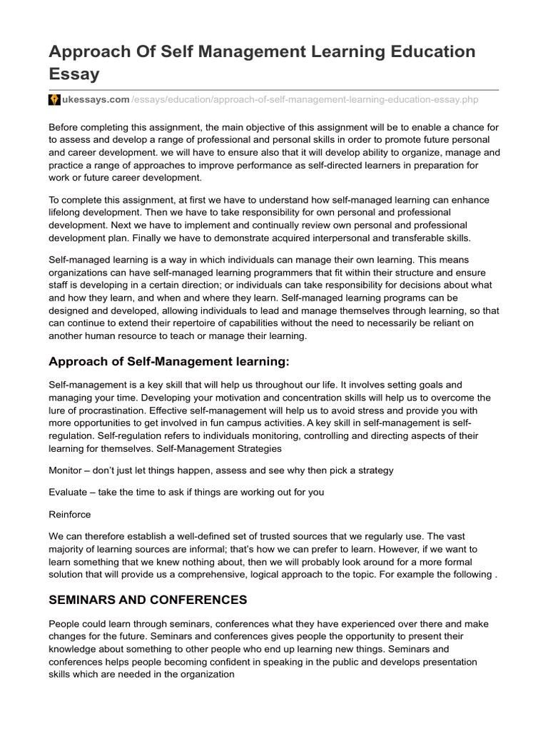 essay on self development skills