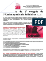 Solidaires - Déclaration Du 6ème Congrès - 5 Juin 2014