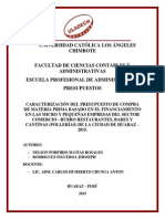 If Primera FasCARACTERIZACIÓN DEL PRESUPUESTO DE COMPRA DE MATERIA PRIMA BASADO EN EL FINANCIAMIENTO EN LAS MICRO Y PEQUEÑAS EMPRESAS DEL SECTOR COMERCIO - RUBRO RESTAURANTES, BARES Y CANTINAS (POLLERÍAS) DE LA CIUDAD DE HUARAZ – 2015.e