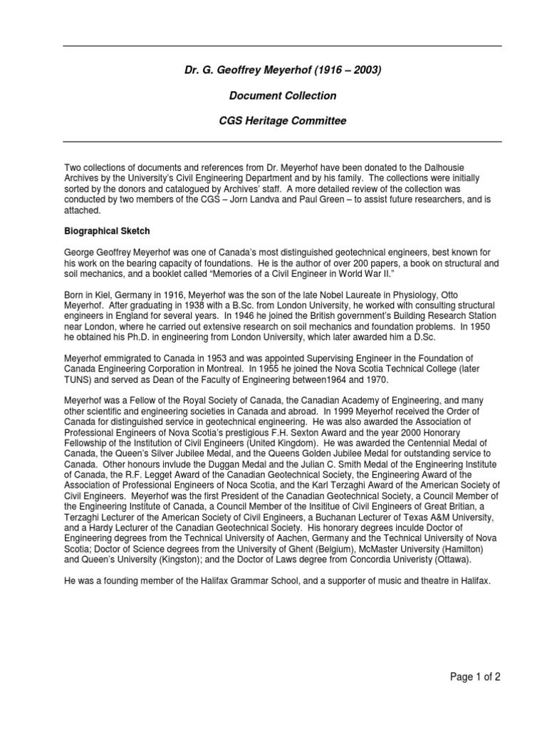 Dr. G. Geoffrey Meyerhof   Geotechnical Engineering   Deep Foundation