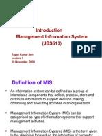 Mis - Jbs513 Lecture 1