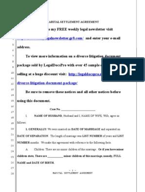 Sample Marital Settlement Agreement For California Contact