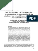 Las actividades de los docentes, intérpretes e investigadores de la música y su relación con el acervo musical universal