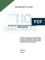 ROTEIRO DE INVESTIGAÇÃO EM SAÚDE DO TRABALHADOR