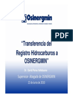 Transferencia Del Registro de Hidrocarburos a OSINERGMIN