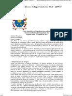 Primeiro Discurso Do Papa Francisco No Brasil - 22072013
