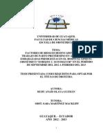 """FACTORES DE RIESGOS DESENCADENANTES DEL TRABAJO DE PARTO PRETÉRMINO EN ADOLESCENTES EMBARAZADAS PRIMIGESTAS EN EL HOSPITAL GINECOOBSTÉTRICO """"ENRIQUE C. SOTOMAYOR"""" EN EL PERÍODO DE SEPTIEMBRE DEL 2012 A FEBRERO DEL 2013"""